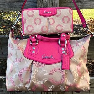 Coach Op Art Dotted Ashley Bag & Wallet Set F20027